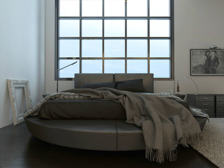 Modern contemporary bedroom interior with gray bed photo