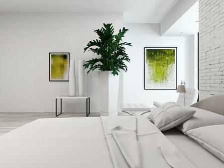 Close-up van een kingsize bed in een witte kamer interieur