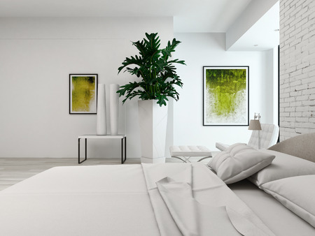 bedsheets: Closeup of king-size bed in a white bedroom interior Stock Photo
