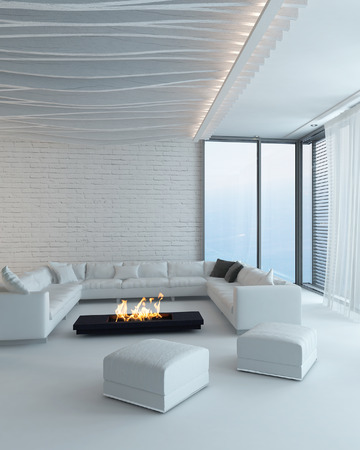 casa: Modern design white style living room interior with fireplace