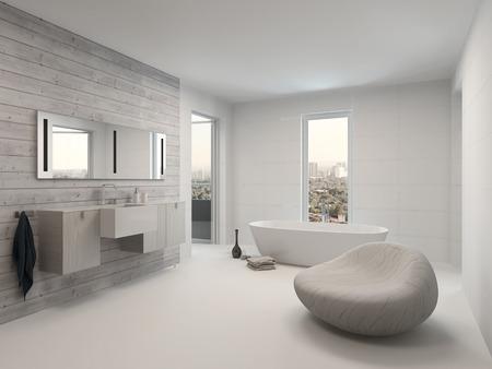 純粋な白いモダンな高級バスルーム インテリア