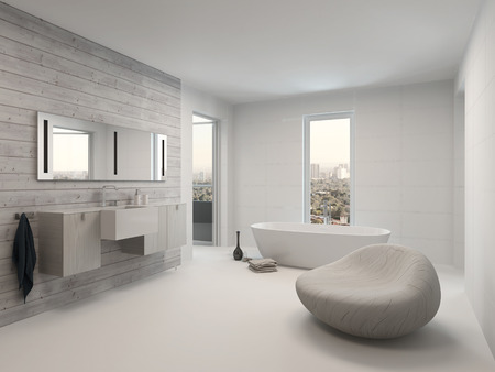 Pure white modern luxury bathroom interior Фото со стока