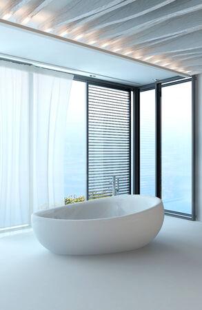 standalone: Pure white modern luxury bathroom interior with standalone bathtub