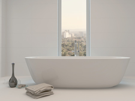 bathtub: Pure white bathroom interior with separate bathtub