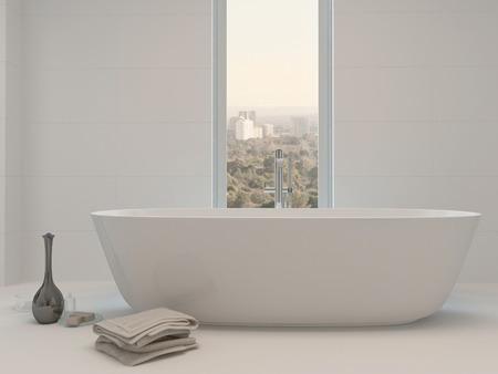Reine wei�e Badezimmer Interieur mit separater Badewanne
