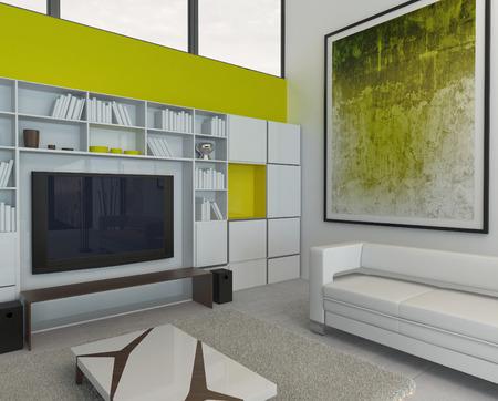 Nice green style living room interior photo