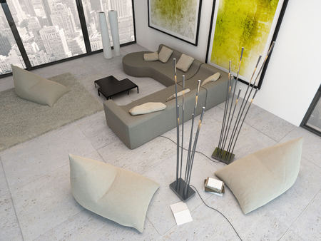 Modern living room interior with view from above Фото со стока