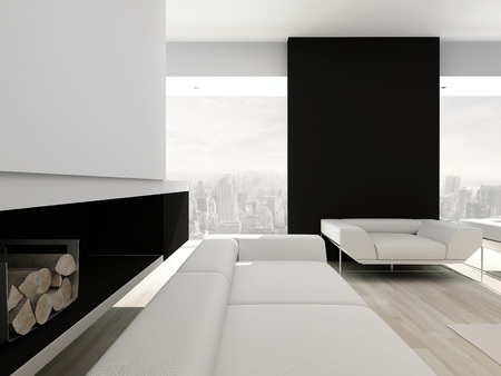 Black style living room interior with white couch photo