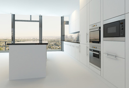 Modern white kitchen interior photo
