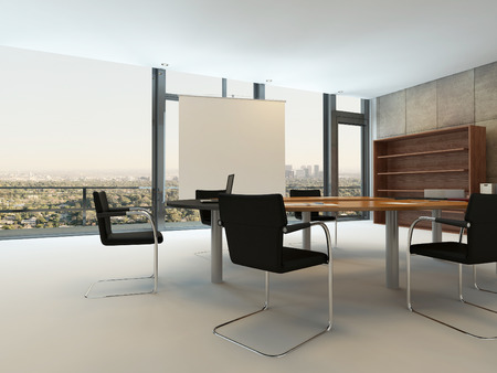 Modern office interior with conference table photo