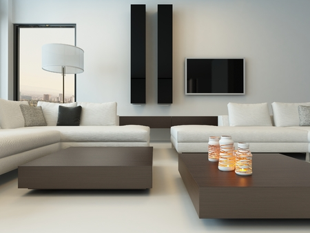 Modern design sunny living room interior with white couch photo