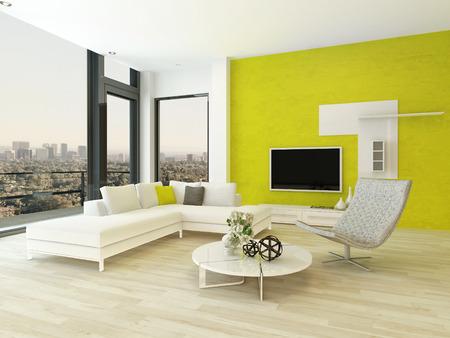 Design moderno salotto interna con mobili bella e fantasia parete verde Archivio Fotografico - 28772441