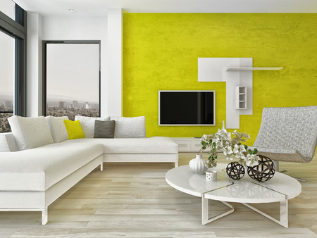 wall design: Modern design living room interior with nice furniture and fancy green wall