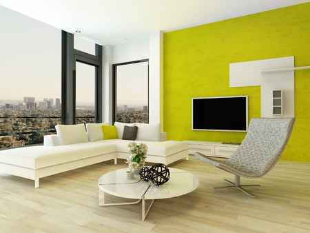 modern sofa: Modern design living room interior with nice furniture and fancy green wall
