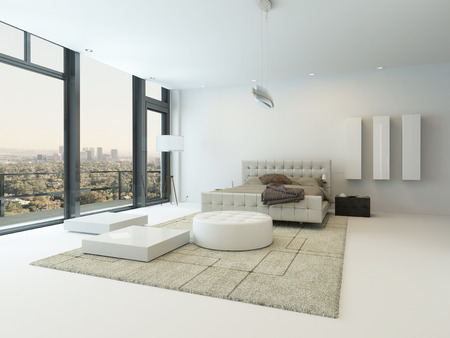 minimal: Pure white bedroom interior with nice bed and beige carpet
