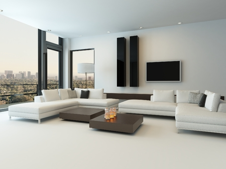 living room sofa: Modern design sunny living room interior with white couch