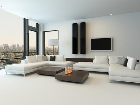 Modernes Design Sonnigen Wohnzimmer Interieur Mit Weißen Sofa Photo