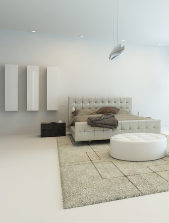 interior window: Pure white bedroom interior with nice bed and beige carpet
