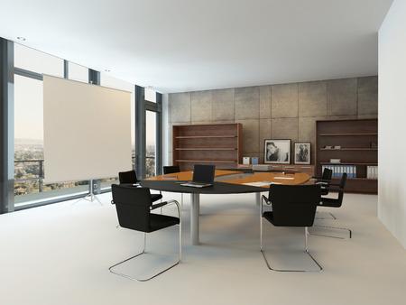 ejecutivo en oficina: Interior de la oficina moderna con el vector de conferencia