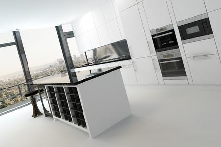 Modern black and white kitchen interior Stock Photo