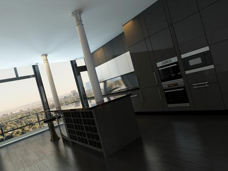 Modern black style kitchen interior Stock Photo - 29100885