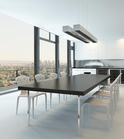 풍경 볼 수있는 거대한 식탁과 창 다이닝 룸 인테리어 스톡 콘텐츠