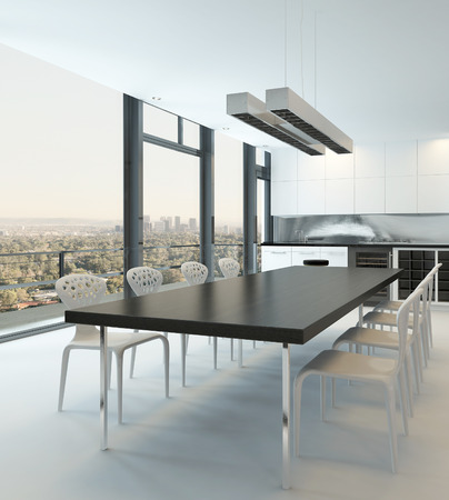lifestyle dining: Dining room interior with huge dining table and window with cityscape view