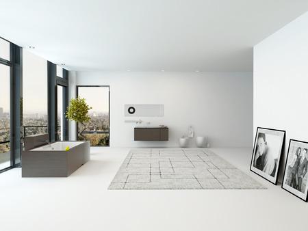 Pure white modern design bathroom interior Stock Photo
