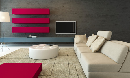 Gray colored modern design living room interior with pink furniture photo