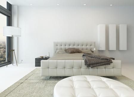素敵な家具と明るい白い寝室のインテリア 写真素材