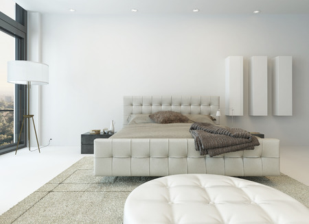 modern interior room: Bright white bedroom interior with nice furniture Stock Photo