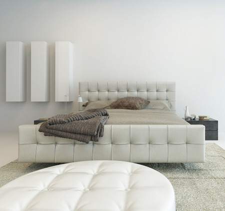 luxury: Bright white bedroom interior with nice furniture Stock Photo