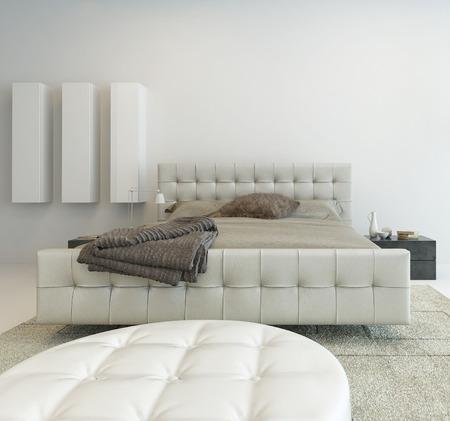 letti: Interni luminosi bianco camera da letto con mobili bella Archivio Fotografico