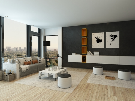 apartment interior: Nice living room interior with white and orange closet
