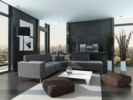 living room sofa: Gray colored modern design living room interior Stock Photo