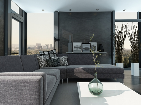 Gray colored modern design living room interior Stock Photo