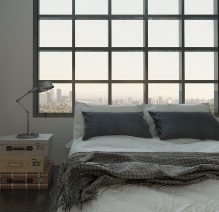 Modern bedroom interior with double bed in front of huge window photo