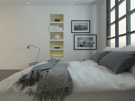 Modern bedroom interior with double bed in front of huge window Stock Photo