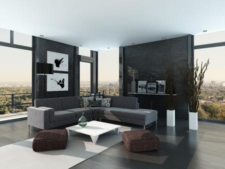 Graues modernes Design Wohnzimmer Innenraum Standard-Bild - 29085546