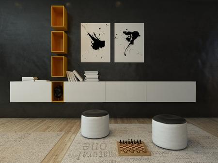 Graues modernes Design Wohnzimmer Innenraum Standard-Bild