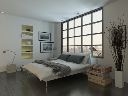 luxury house: Modern bedroom interior with double bed in front of huge window Stock Photo