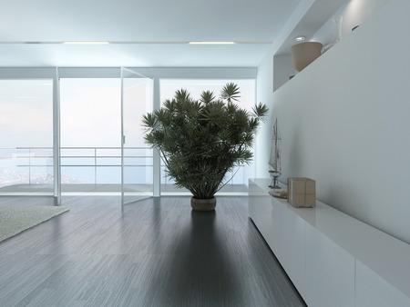 Luminoso interno stanza vuota con fiore in vaso