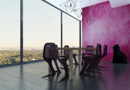 Modern design dining room interior with colorful pink wall photo