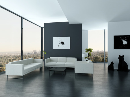 house render: Nice white and gray style living room interior with huge windows Stock Photo