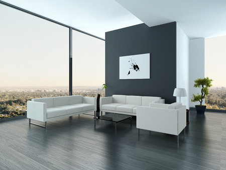 Nice white and gray style living room interior with huge windows Stock Photo