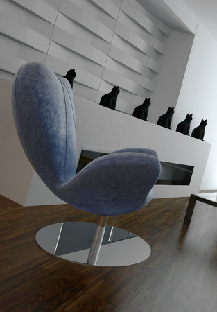 Modern blue armchair in front of design wall with cupboard photo