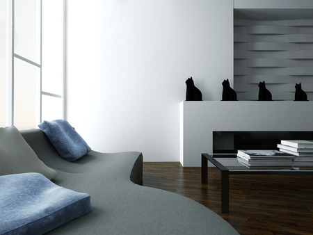 Modern design living room interior with gray couch and blue pillows