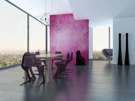 modern dining room interior with pink wall photo