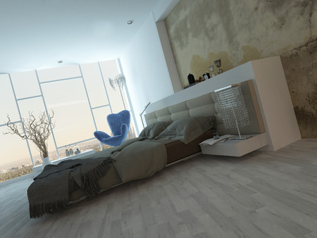 Grunge style bedroom interior with beige colored bed photo