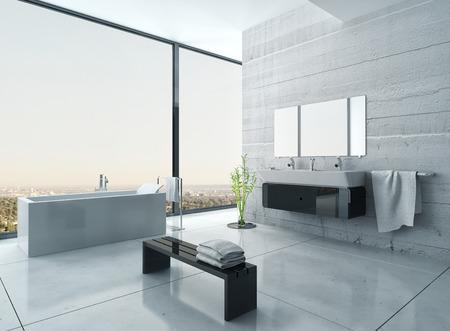 hormig�n: Interior moderno del cuarto de ba�o blanco y negro